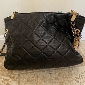 Michael Kors black leather quilted bag